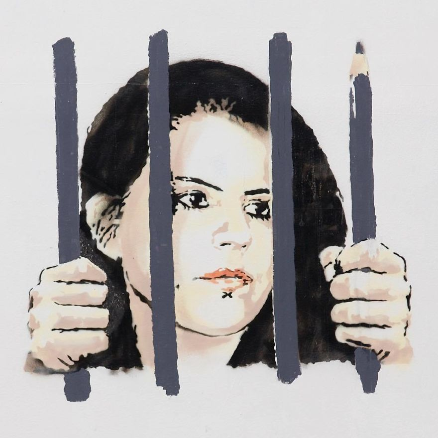 Detalle de la obra de Banksy